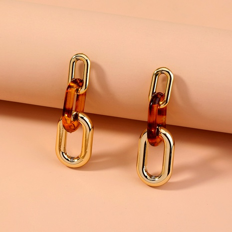 Pendientes largos de resina con estampado de leopardo y aguja de plata S925 NHAN289449's discount tags