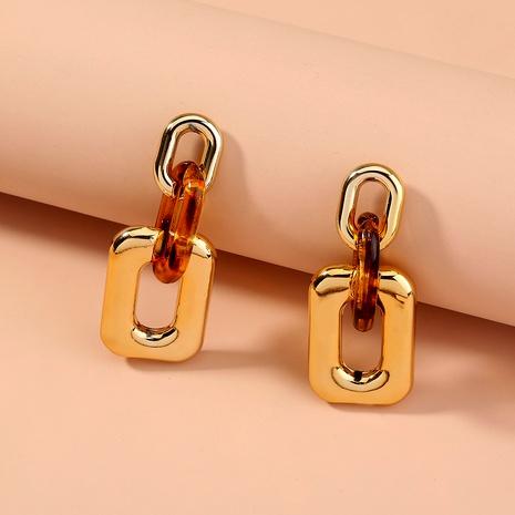 Pendientes largos de resina con estampado de leopardo y aguja de plata S925 NHAN289461's discount tags