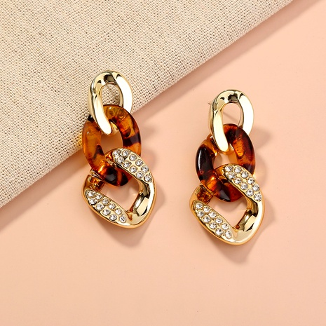 S925 silver needle simple fashion leopard print long earrings  NHAN289470's discount tags