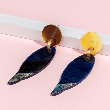 blue acrylic plate leaf earrings NHAN289476's discount tags