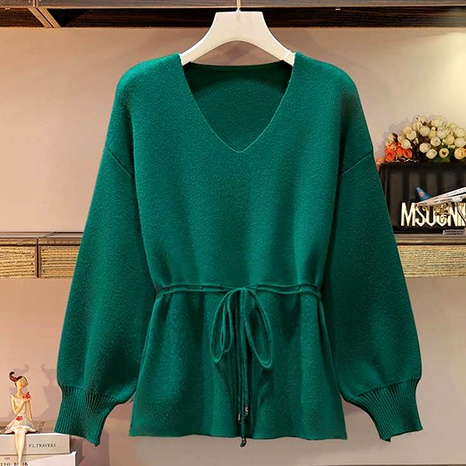fashion loose solid color V-neck long-sleeved sweater NHUO290145's discount tags