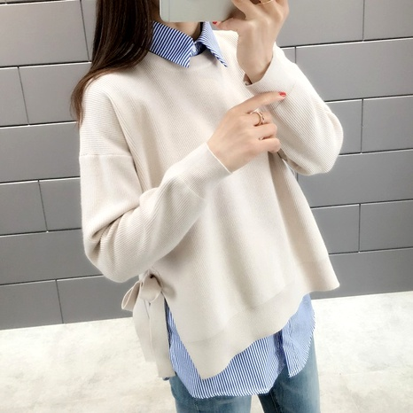 loose striped knitted sweater shirt two-piece suit NHUO290142's discount tags