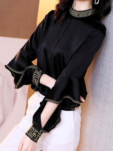 fashion ruffled mulberry silk blouse  NHUO290141's discount tags