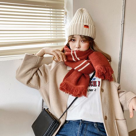 Korean pure color knitted wool shawl thickened warmth scarf NHCJ278111's discount tags