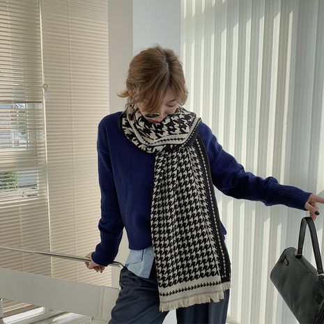 warm houndstooth check color matching plaid scarf big shawl for women NHCJ278112's discount tags