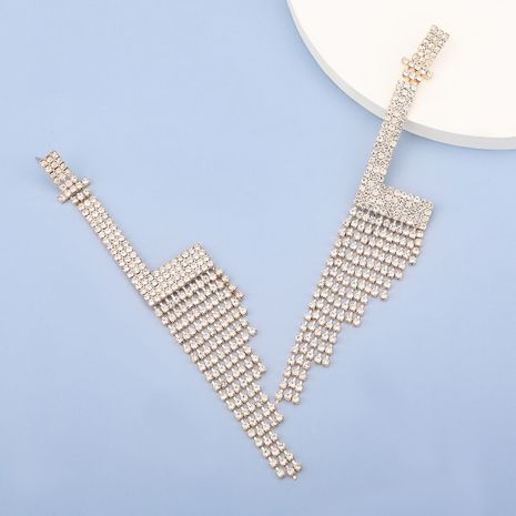 flashing claw chain alloy rhinestone letter L tassel earrings  NHJE278116's discount tags