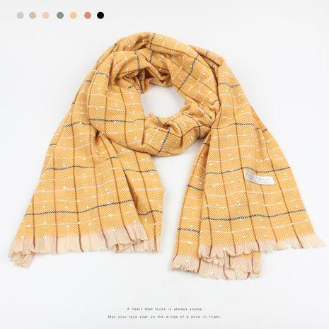 winter Korean plaid scarf NHXO278311's discount tags