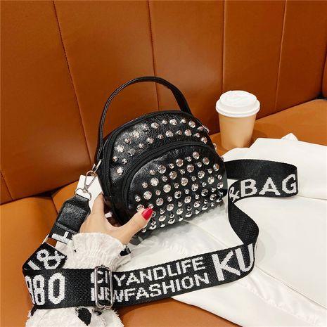 soft leather rivet fashion single shoulder wideband messenger bag NHRU278344's discount tags