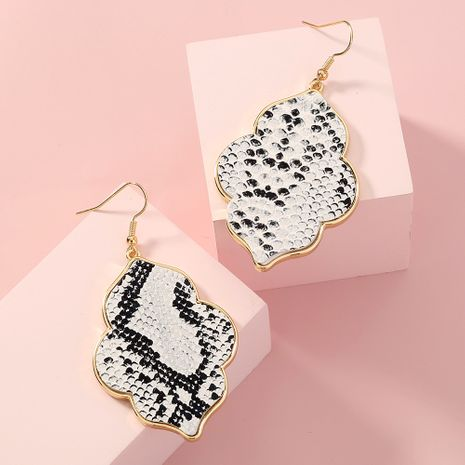 fashion snake skin geometric exaggerated leather earrings NHAN278777's discount tags
