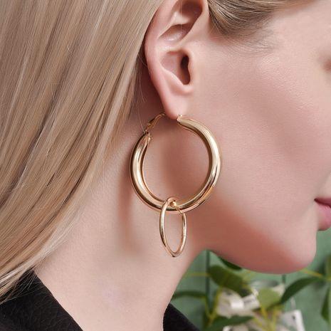 Boucles d'oreilles en métal rondes épaisses NHAJ278793's discount tags