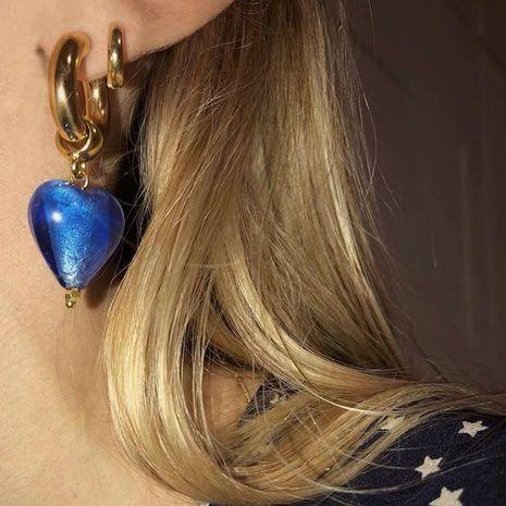 boucles d'oreilles rétro coeur argent feuille d'or personnalisé NHYQ278813's discount tags