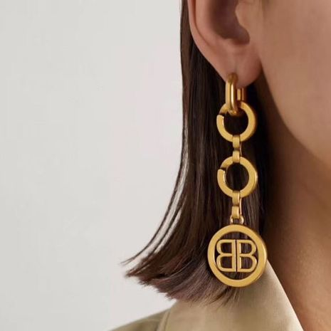 Metallic retro English letters exaggerated circle earrings  NHYQ278832's discount tags