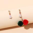 asymmetrical cute fur ball Christmas earrings  NHRN278854