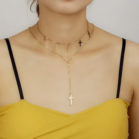 multi-layer tassel cross necklace NHRN278847's discount tags