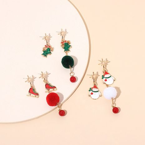 fashion star tassel asymmetrical fur ball Christmas earrings  NHRN278856's discount tags