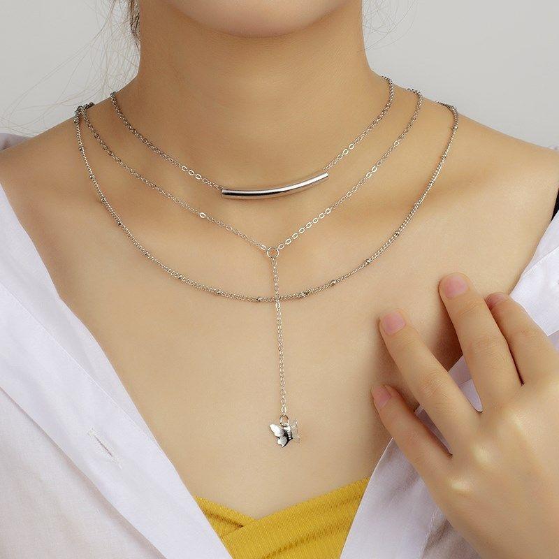 multilayer  fashion tassel  necklace  NHRN278844