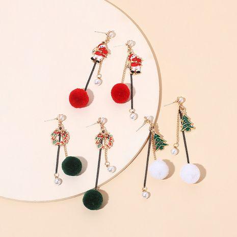 tassel Christmas retro asymmetrical hair ball pearl earrings NHRN278857's discount tags
