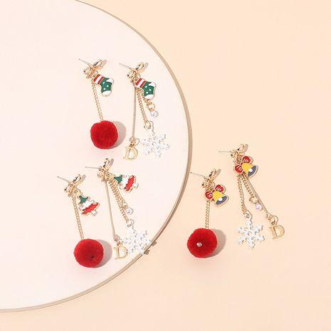 asymmetric Christmas retro tassel hair ball snowflake earrings NHRN278860's discount tags