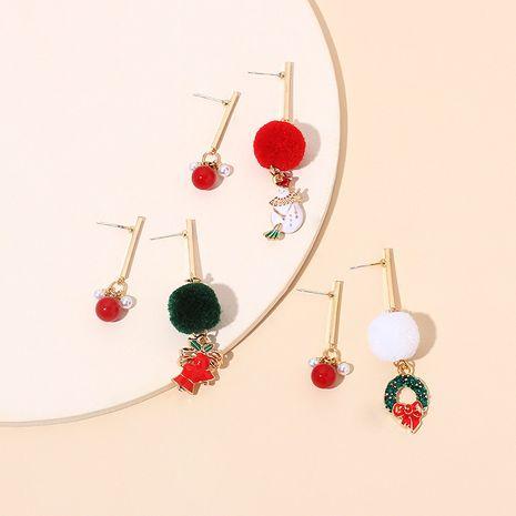 pearl fashionable asymmetric red agate hair ball Christmas earrings NHRN278859's discount tags