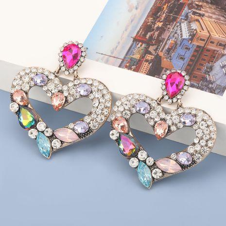 Boucles d'oreilles en forme de coeur en alliage de diamants colorés NHJE278865's discount tags