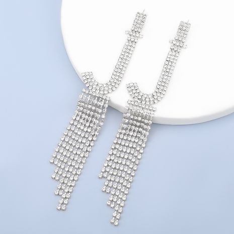 flash claw chain series fashion alloy rhinestone letter J tassel earrings NHJE278891's discount tags