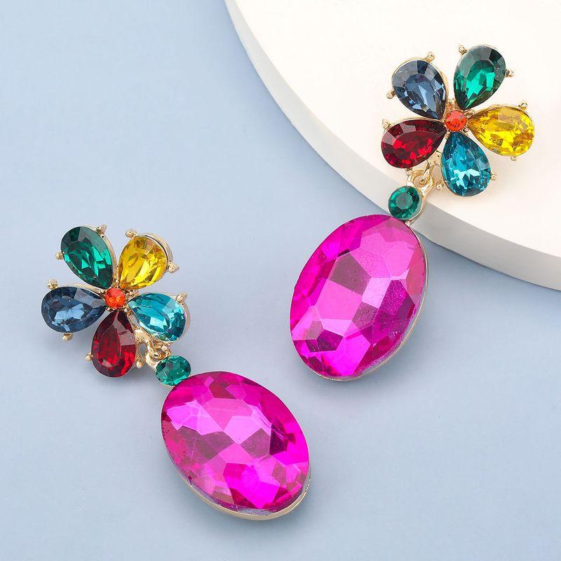 alloy diamond glass flower earrings NHJE278893