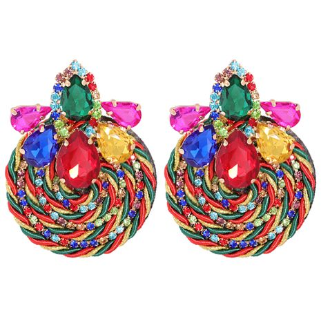 rhinestone geometric round exaggerated earrings  NHJJ278894's discount tags