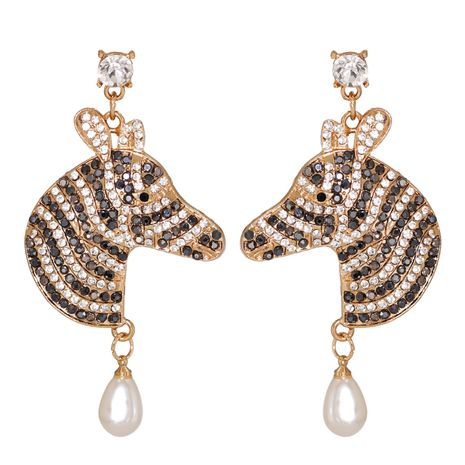 exaggerated stripes color diamond earrings  NHJJ278897's discount tags