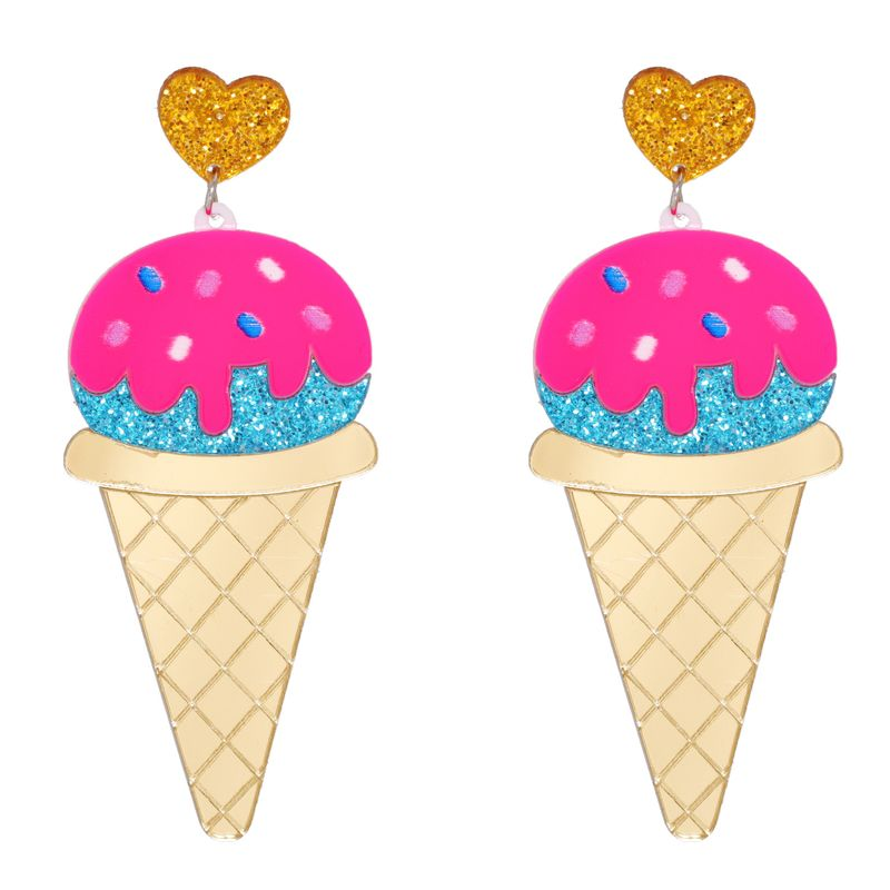 cone exaggerated ice cream earrings  NHJJ278898