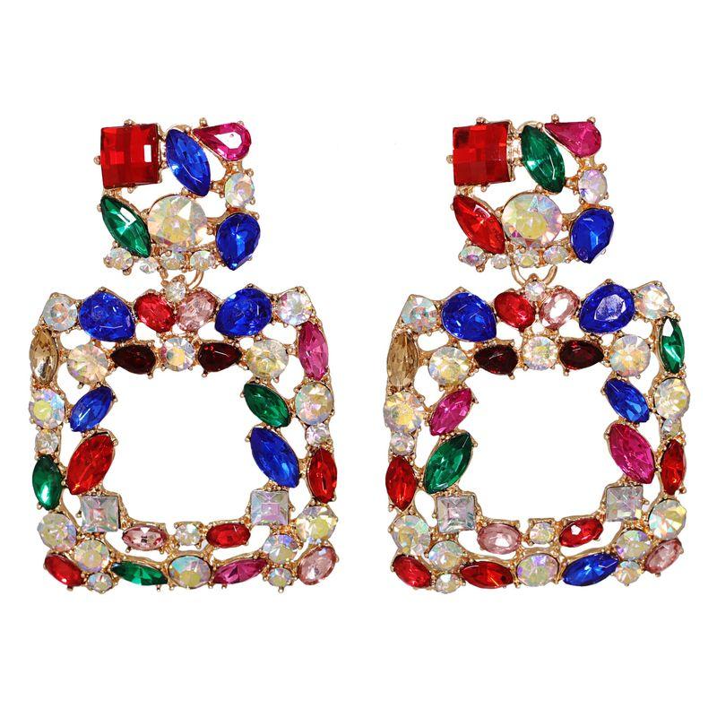 geometric full diamonds Korean earrings NHJJ278903