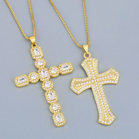 full zircon cross pendant hipster necklace  NHAS278917's discount tags