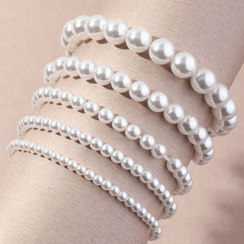 fashion stretch line multilayer imitation pearls bracelet   NHNZ278946