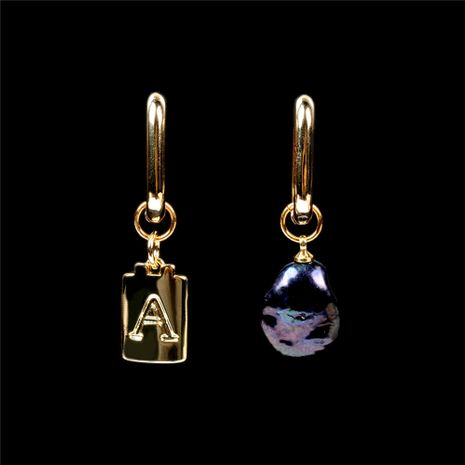 asymmetrical pearl 26 English letters pendant earrings NHPY278977's discount tags