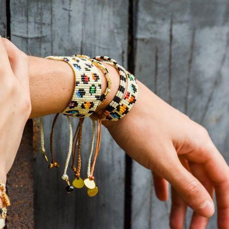 Pulsera de pareja de leopardo de color tejido a mano retro bohemio NHGW278990's discount tags