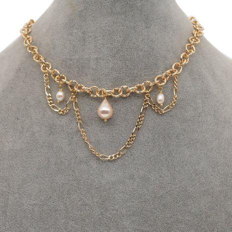 geometric texture hip hop golden necklace NHGW278991's discount tags