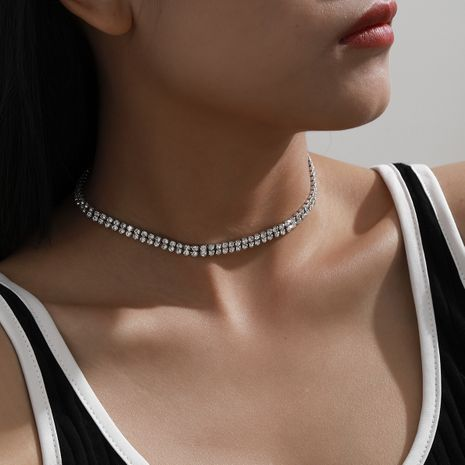 fashion diamond simple necklace NHXR279010's discount tags