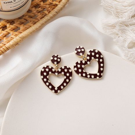 Retro fashionable red and white dots heart 925 silver needle earrings NHMS279034's discount tags