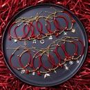 red rope  beaded deer snowflake fishtail pullable bracelet NHMS279053