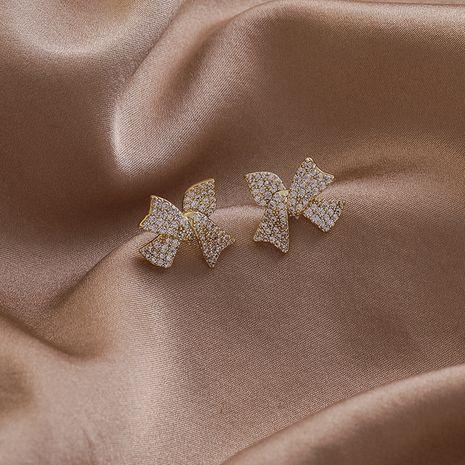 925 Silver Needle Zircon Bowknot Earrings NHMS279057's discount tags