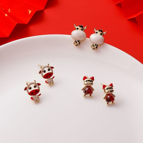 cute calf red gem earrings NHMS279060's discount tags