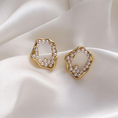 gold irregular faux pearl earrings  NHMS279061's discount tags