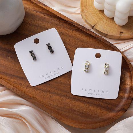 Korean 925 silver needle simple square rhinestone arc earrings  NHMS279064's discount tags