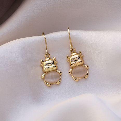 cat's eye stone bull pendant earrings NHMS279065's discount tags