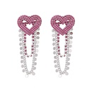 Korean Rhinestone Sequined Tassel Heart Earrings NHYQ279121