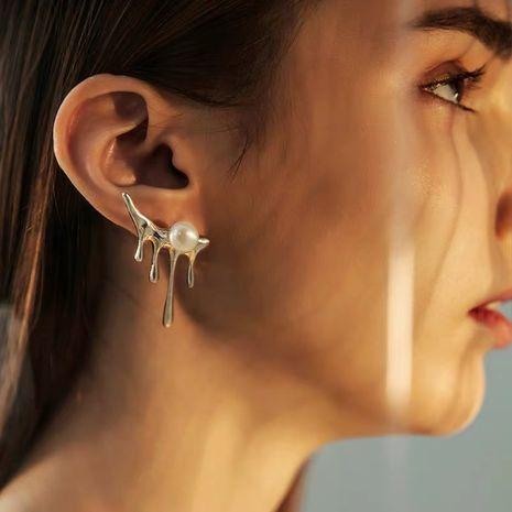 boucles d'oreilles à texture de perle exagérée NHYQ279122's discount tags
