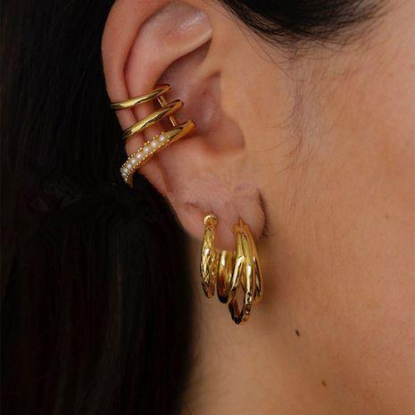 Clip d'oreille perle française à trois couches NHYQ279130's discount tags