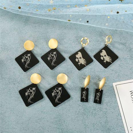 boucles d'oreilles à impression abstraite noire de mode NHGO279143's discount tags