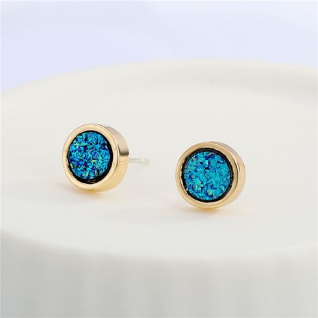 new round resin blue crystal earrings NHGO279149's discount tags