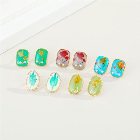 Korean retro dried flower resin earrings NHGO279152's discount tags