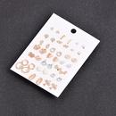 retro inlaid rhinestone flower golden earrings 21 pairs set  NHSD279156